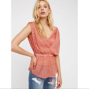 Free People Coral Lace Stardust Top Sz XS NWT